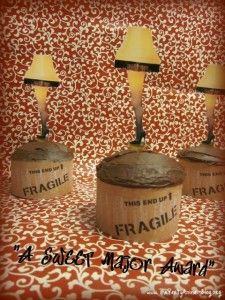 Christmas Story leg lamp cupcakes- free printable lamps, christma stori, cupcakes, leg lamp, legs, parti idea, christma parti, stori leg