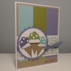 stamp set, card designs, color combos, art cards, christmas birthday, greeting cards, sweet cake, paper crafts, ice cream cones
