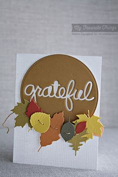 Burlap Background, Falling Leaves Die-namics, Pierced Circle STAX Die-namics, Words of Gratitude Die-namics - Keisha Campbell #mftstamps