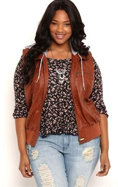 Deb Shops Plus Size Distressed Faux Leather Vest with Knit Hood $28.00