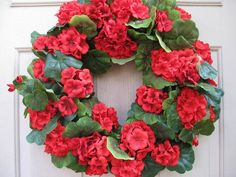 Red Geranium Wreath, Red Wreath, Summer Wreaths, Red Home Decor, Floral Wreath, Farmhouse Cottage Decor, Etsy Wreaths by AWorkofHeartSA, $90.00