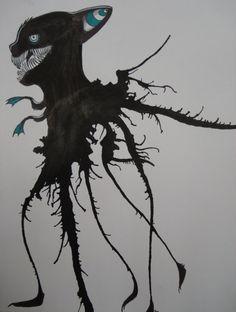 ink creatur, blown ink monster, ink splash, splash art, halloween art, blow paint straw