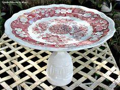 Red Toile Spode Cake Plate / Pedestal by GardenWhimsiesByMary