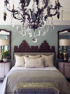 Wall Mirrors Above Night Stands - Makes the room look much bigger.