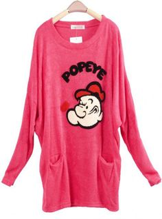 Bat Sleeve Imitation Rabbit Hair Sweater Red$39.00