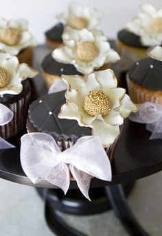 Black Quilting & Gold Flowers on Wedding Cupcakes | Beautiful Cake Pictures