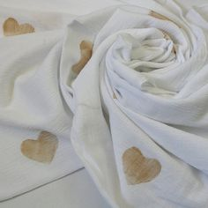 Gold Heart Hand Stamped Cotton Gauze Muslin Baby Swaddle Blanket from Barrel and a Heap
