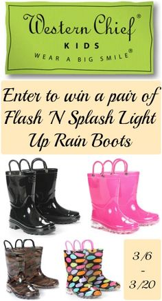 GIVEAWAY!!! Light up Flash N Splash Rain boots!!! They are so cute...don't miss out!!!