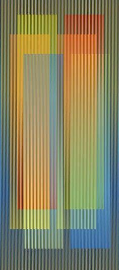 Carlos Cruz-Diez  color, podemos observar una fisiocromia, como da superposición de colores da la ilusion de una amplia variedad de colores