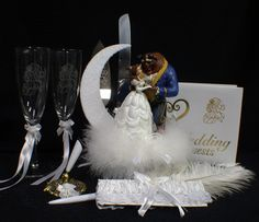 Disney Beauty and the Beast Wedding Cake Topper lot Glasses, knife, server, guest book, pen, holder, garter.
