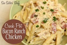 Crock Pot Bacon Ranch Chicken- creamy comfort food that your whole family will love! SixSistersStuff.com #slowcooker