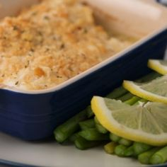 Baked haddock in wine, butter and lemon juice, topped with Ritz crackers.