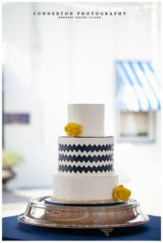 nautical wedding cake, chevron wedding, newport wedding cake, classic wedding cake, ocean theme wedding cake, blue and white wedding cake, modern wedding cake