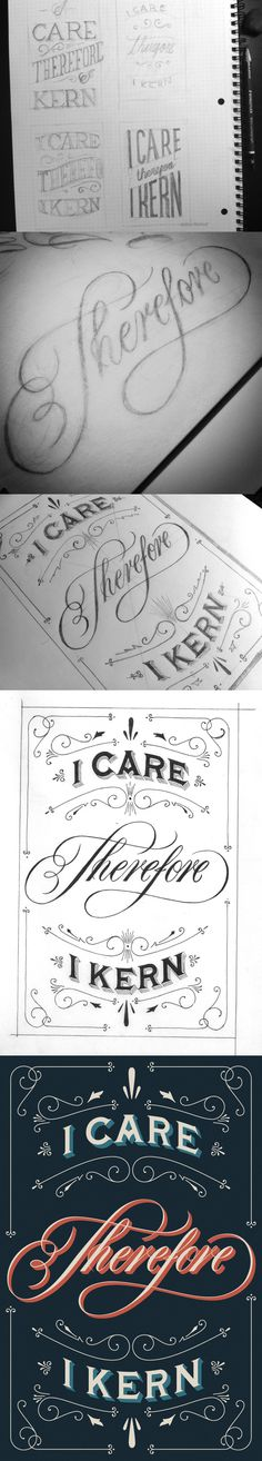 Hand lettering   Icarethereforeikern-process