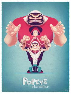 """popeyeartshow: """" """"Muskels Shmuskels"""" by James Gilleard http://popeyeartshow.tumblr.com/ https://www.facebook.com/events/906739306021159/?fref=ts www.herocomplexgallery.com """""""