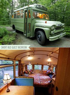 Guest Bedroom Made From A 1959 Chevy Viking Short Bus. Wow... Beautiful bus.