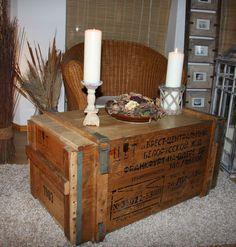 Alte Holz Truhe Holzkiste Holztruhe Couchtisch Shabby Kiste Frachtkiste