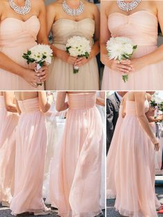 Love these bridesmaid dresses,pink bridesmaid dresses