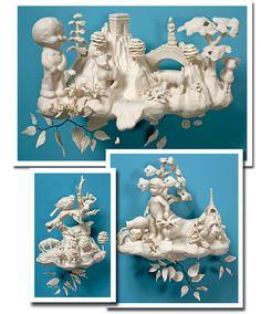 Porcelain sculpture pieces by artist Beth Katleman.