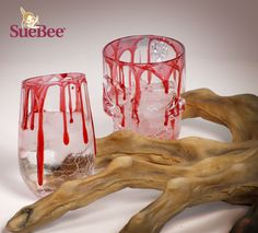 """Halloween Party Idea! Honey """"Blood-Dripped"""" Glasses!"""
