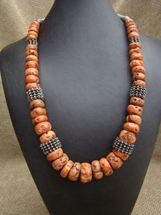 Yemen ~ Old coral and silver necklace.