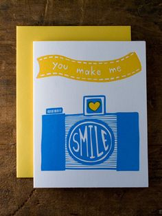 """you make me smile"" card"