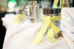 simple decor accents - tin cans with fabric ties