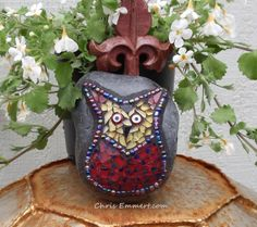Whimsical  Red and Yellow Owl  Mosaic Rock by ChrisEmmertMosaic, Sold
