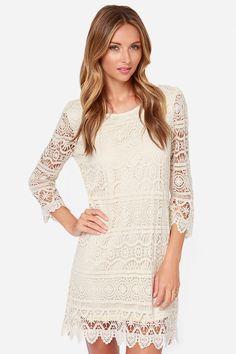 Crochet, S'il Vous Pla�t? Cream Lace Dress at LuLus.com! Size Small