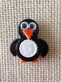 Penguin ID Badge Holder - made from sterile IV vial tops