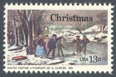 "1976_10_27 $.13 This contemporary Christmas stamp features an 1855 lithograph by artist Nathaniel Currier. The lithograph, located in the Museum of the City of New York, is titled, ""Winter Pastime"" and depicts children playing (hockey ?) on a frozen river."