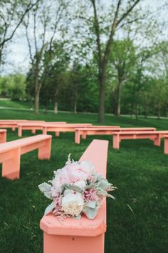 Outdoor wedding ceremony - Painted benches |  Woodnote Photography |   Read More: http://stylemepretty.com/2013/08/29/wisconsin-wedding-from-woodnote-photography-2/