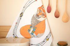 Curious Fox Tea Towel. £10.00, via Etsy.