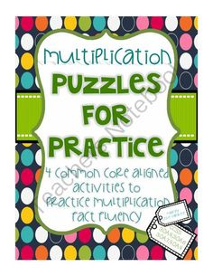 Multiplication Puzzles for Practice! Enter for your chance to win.  Multiplication Puzzles for Practice (36 pages) from LeslieVarghese on TeachersNotebook.com (Ends on on 10-5-2014)  Fun and engaging activities to help multiplication fact fluency. Included in this giveaway are 4 common core aligned activities designed to make fact fluency practice fun! The puzzles in this pack include: 1.a-maze-ing multiples: mazes and answer keys for the multiples of factors 2-10 + blank maze template for ...