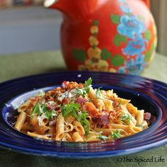 Pasta with Melon, Bacon and Shredded Cheese--SO good--really unexpected! I don't even like cantaloupe!