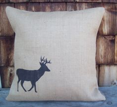 Burlap Deer Decorative Pillow Cover 20 x 20 by North Country Comforts - Deer Pillow Cover - Cabin and Lodge Decor