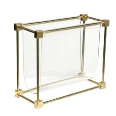 Brass and Acrylic Sling Magazine Stand | From a unique collection of antique and modern magazine racks and stands at http://www.1stdibs.com/furniture/more-furniture-collectibles/magazine-racks-stands/