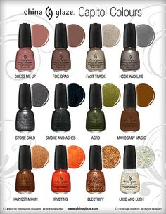 """China Glaze """"Capitol Colours"""" Nail Polish Collection for The Hunger Games - I have two of these (Dress Me Up and Fast Track) and I love them! Looking at getting a couple more"""