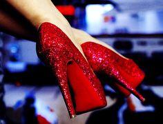 red glittery heels