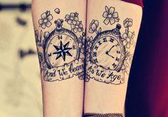 tattoo ideas, pocket watch, wrist tattoos, matching tattoos, a tattoo, sister tattoos, couple tattoos, tattoo ink, new tattoos