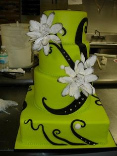 Lime Green, Black and White Cake
