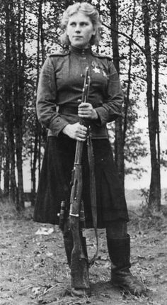 Roza Shanina, WWII sniper, 1944. Despite what these women are doing and the potentially violent tasks they are fulfilling, the uniform still demands some reference to their gender to separate them from their fellow soldiers.