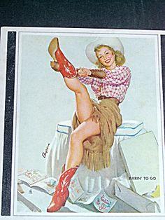 Elvgren Cowgirl Pin Up Blotter, National Thread