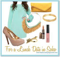 mint dress w bold gold accessories