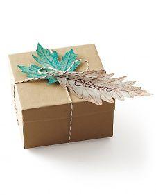 Kraft wrap and leaf gift tags, from Martha Stewart.