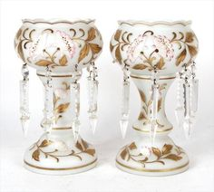 Pair of Antique Opaline Glass Gilt and Floral Decorated Lusters