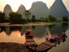 adventur, chine, yulong river, beauti place, asia, china guangxi, places, rivers, bamboo boat