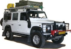 Land Rover Defender 110 with all the goodies - even an engine snorkel for river crossing.