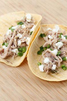 Slow Cooker Salsa Verde Shredded Pork Tacos ~ part of our 31 Days of Slow Cooker Meals series | 5DollarDinners.com