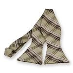 Beige Newbury Plaid Self-Tie Bow Tie $6.95